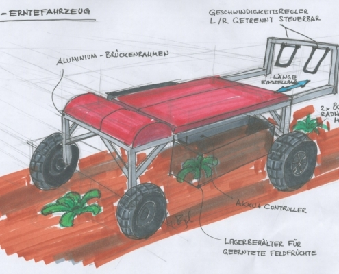 design study of a strawberry harvester, based on a recumbent bicycle with electric drive