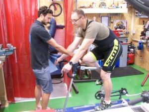 fitting bike session with with our client and a physiotherapist